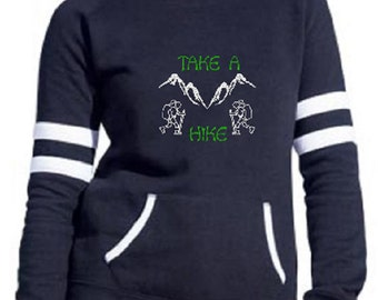Women's Take A Hike Navy Heavy weight varsity fleece Crew Pullover Sweatshirt Hiking shirt Women's Hike Sweatshirt