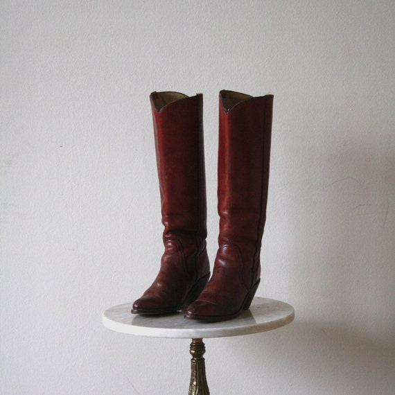frye boots s 5 5 6 brown high heeled