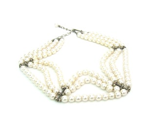 Pearl Necklace. Triple Strand. Choker, Collar Style. 6mm Faux White Pearl Beads. 14.5 inch long. Vintage 1980's Party Dress Up Jewelry