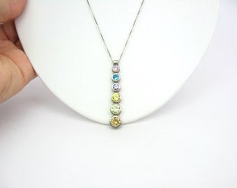Crystal Pendant Necklace. Pastels, Graduated, Sterling Silver. Fine Box chain. Vintage 1980s Modernist Rainbow Jewelry