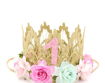 First Birthday   MINI Sienna crown gold    cotton candy colored flowers    lace crown headband photo prop    customize ANY AGE