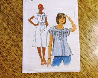 1970s BOHO Square Yoked Summer Top & SOUTHWESTERN Style Peasant Dress / Muu Muu - Size 10 - UNCUT Vintage Sewing Pattern Butterick 4864