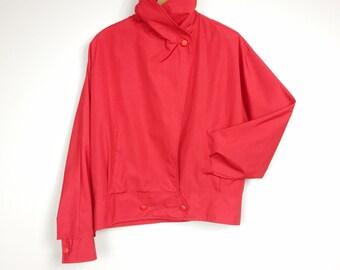 Red Windbreaker Bomber Jacket Women's Medium Oversized Boxy Boyfriend Fit Nordstrom POV 1980s Vintage Cropped Coat Jacket Bolero Windbreaker