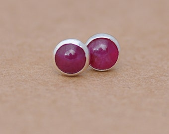 Ruby Earrings with Sterling Silver Studs. 5mm Ruby Cabochon gemstones and Silver settings