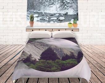 Mountain Duvet Cover, Bedding, Bohemian Decor, Nature Theme Bedroom, Forest Duvet, Mountains Bed Cover, 3 sizes