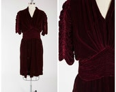 Vintage 1940s Dress • Twilight Woman • Deep Maroon Silk Velvet 40s Cocktail Dress Size Large