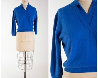 Vintage 1950s Sweater • Seaside Home • Cobalt Blue Wool 50s Vintage Sweater Size Medium