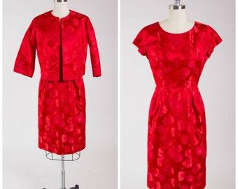 Vintage 50s Dress Set • Daring Vestige • Red Floral Damask 1950s Dress Size Small