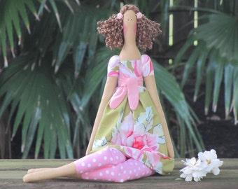 Rag doll handmade cloth doll brown hair fabric doll Tilda doll cute stuffed doll pink polka dot softie plush doll