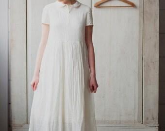 Long White Dress, White Slip Dress, Womens Bridal Shower Dress, White Petticoat, Womens Underwear Dress, Sleepwear Chemise, Loose Dress