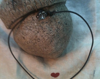16 inch brown leather necklace with single pearl