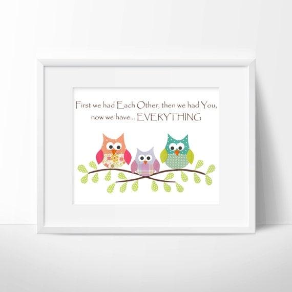 Owls- First we had each other, Nursery or children artwork, decoupage, girl, pink, yellow, green, purple, blue, bird, tree branch