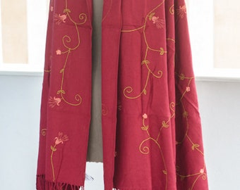 90's Bordeaux Floral Embroidered Shawl - Lord & Taylor extra large wrap