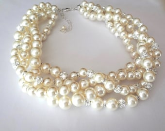 Chunky Pearl necklace ~ Crystal and pearl rhinestone necklace ~ Bridal jewelry ~ 4 strands ~ Twisted pearl necklace ~ Brides necklace