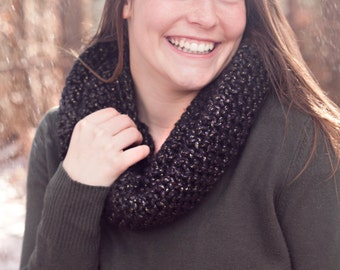 Infinity Scarf, Crochet Cowl, Circle Scarf in Black and Metallic Gold