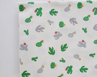 Green Cactus Fabric, Cute Cacti Fabric, Plant Fabric, Cotton Fabric