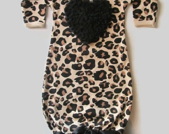 Leopard Baby Girl Gown with Black Chiffon Heart and Black Tutu Ruffles newborn baby girl, baby clothes, Valentine's baby girl, FREE SHIPPING