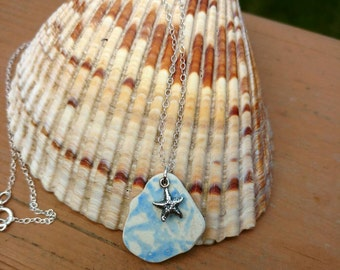 Sea Pottery, Blue Real Beach Pottery Sterling Silver Necklace, Beach Jewelry,Sea Pottery, Beach Pottery Jewelry, Starfish Pendant