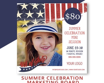 Fourth of July, Mini Session Template, Marketing Board, Photoshop Template, Photography Templates, Red, White, Blue, INSTANT DOWNLOAD