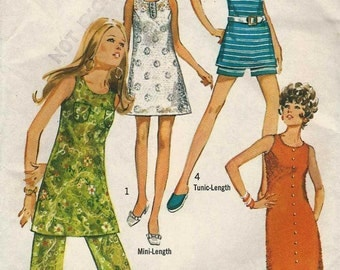 """Sewing Pattern Simplicity 8757 Mod a-line shift dress mini or maxi or tunic with pants or shorts Size 9 JP Bust 33"""" (uncut)"""