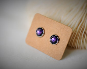 SWAROVSKI Purple Velvet (277) with Stainless Steel Stud Earring ~ 8 mm- Girls / Casual / Elegant