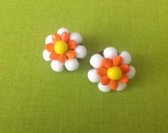 Vintage white orange yellow Porcelain flower daisy earrings 60s