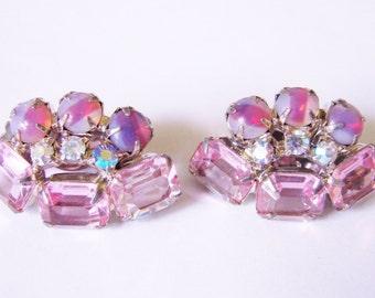 Vintage Juliana Style Aurora Borealis Rhinestone Earrings / Art Glass / Pink Emerald Cut Stones / Jewelry / Jewellery
