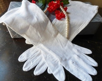 Long White Gloves with Decorative Stitching, Size Large, White Rayon Gloves 50s
