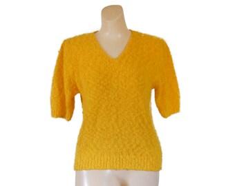 Yellow Sweater Short Sleeve Sweater 80s Sweater Petite Sweater Petite Clothing Petite Clothes V neck Sweater 1980s Sweater Yellow Shirt Top