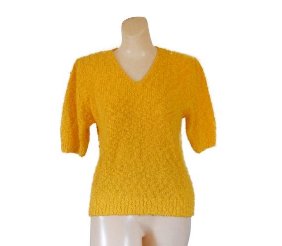 Yellow Sweater Short Sleeve Sweater 80s Sweater Petite Sweater