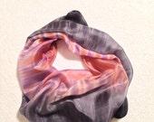 Hand Painted Silk Scarf Shibori in Peach,Lavander and Grey shades#2