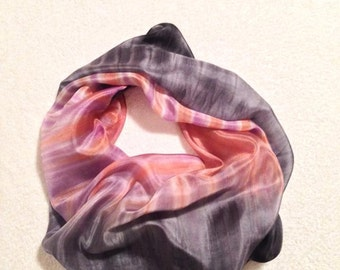 Hand Painted Silk Scarf Shibori in Peach,Lavander and Grey shades#2