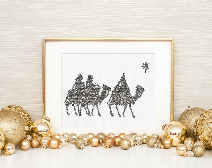 We Three Kings - A Limited Edition Print of a Hand-lettered Image Using the Carol
