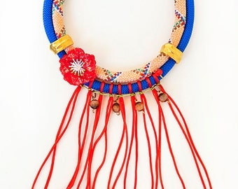 Red flower-statement necklace,rope necklace,boho jewlery,fringe necklace,chunky necklace,cocktail necklace,fashion necklace,artistic