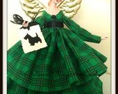 Angel Tree Topper, Holiday Green Plaid Tartan Treetop, Collectible Porcelain Gift Angel, Christmas Tartan