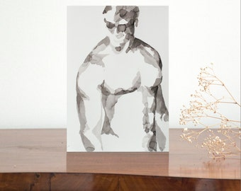 A4 Original nude male ink drawing on paper - man nude body art ink pose modern minimal painting drawing modern figurative, Cristina Ripper