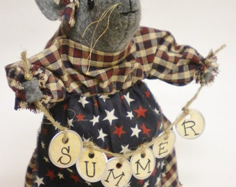 Primitive Mouse, Summer Tag Garland Mouse Made To Order, Collectible Mice Decorations