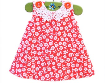 Daisy Dress - With Handmade Crochet Floral Collar - Kids Fashion - Special Occations - KK Children Designs - Gift for her - Photo Prop