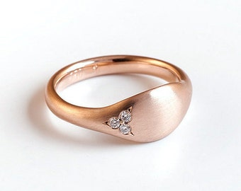 Solid rose gold wrapping ring pinky, 18k rose gold diamond ring, unique 14k gold diamond ring, Diamonds women's seal signet