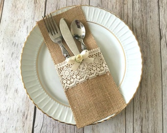 10 burlap and natural color lace rustic silverware holders, wedding, bridal shower, baby shower