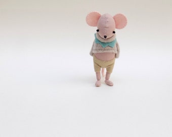 Pink Muslin Mouse  -  Handmade plush mouse wearing oatmeal coloured  woolly pullover and matching felt pants.