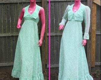 Mint Green Plaid Halter Maxi Dress w/ Matching Jacket~High-Waisted~Ruffles~70s 2-pc Bridesmaid~Sz S~Pastel~Low-Cut~Maxidress Polyester Sheer