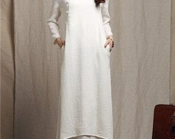 maxi linen dress in white, bridesmaid dress, long linen dress, evening dress, layered dress, maxi dress, maxi kaftan, maxi cocktail dress