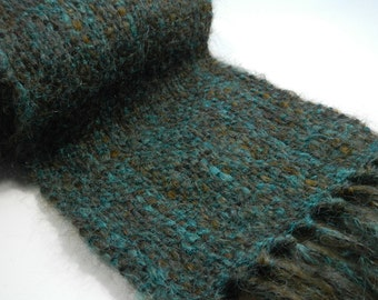 Handwoven alpaca scarf brushed wool teal brown