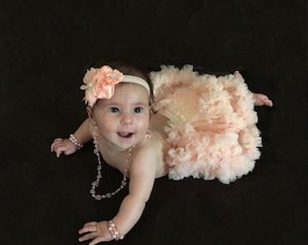 Pettiskirt Bloomers and Headband Set / Peach pettiskirt Baby Bloomer / Ruffle Diaper Cover / Newborn Photo Prop / Newborn Headband