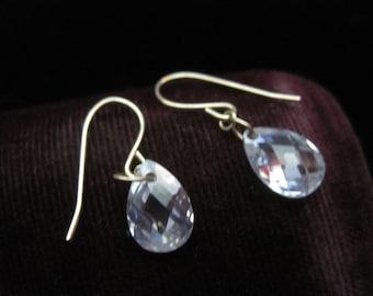 14k Briolette Earrings Gold Delicate Crystal Teardrop Teardrops  Dangle Vintage Fourteen Karat Yellow