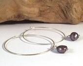 HOOP EARRINGS with Grey Cultured Freshwater Pearls Beads on Silver Tone Metal Hoops