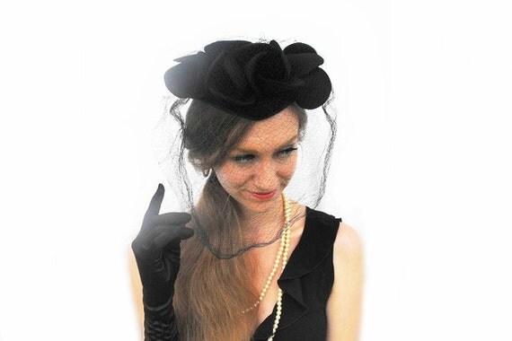 1950s Gothic Wedding Veil Millinery Fashion Hat Bridal Black Tulip Felt Netting Vintage Couture Costume Mourning Widow's Peak Net Fascinator