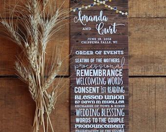 Wedding Program, Wedding Programs, Order of Service, Woodgrain, Wood grain, String Lights, Twinkle Lights, Market Lights, Printable Program