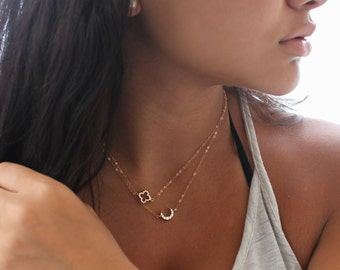 Four leaf clover necklace, 14k gold filled, dainty cubic zirconia 4 leaf clover, gold Shamrock, layering necklace, good luck charm